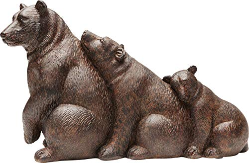 Kare Design Deko Objekt Relaxed Bears, Wohnzimmer Dekoration im Kolonialstil, Bärenfamilie Deko Braun, Dekoobjekt Animal, Polyresin (H/B/T) 20x32x12,5cm