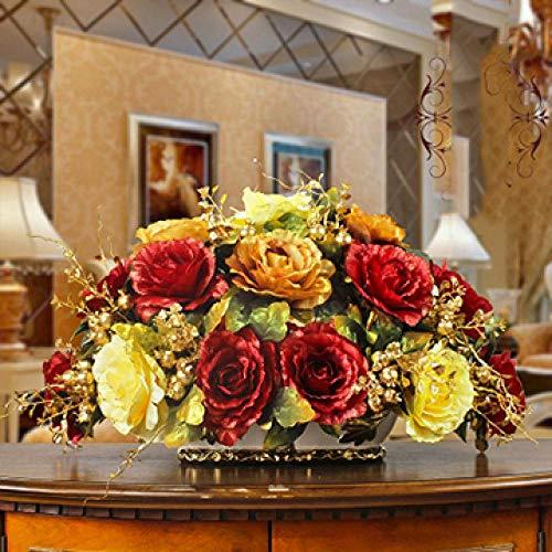 Vase Luxushalle Keramikvase + Künstliche Blumenfiguren Home Crafts Dekoration Veranda Esstisch Gefälschte Blumentopf Ornament Stil19