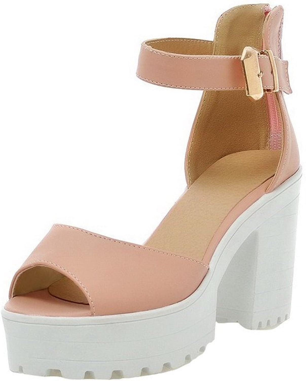 AllhqFashion Women's High-Heels Solid Zipper PU Open Toe Sandals