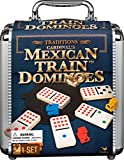 Mexican Train Dominoes Game in Aluminum Carry Case, for Families...