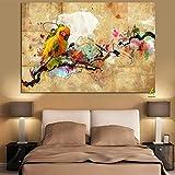 wZUN Pintura de Arte Abstracto Pintura al óleo de pájaro Loro sobre Lienzo póster e impresión de Imagen de Pared para decoración de Sala de Estar 60x90 Sin Marco