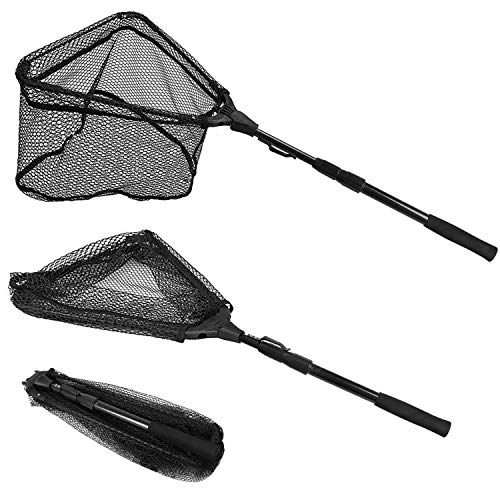 "PLUSINNO Fishing Net Fish Landing Net, Foldable Collapsible Telescopic Pole Handle, Durable Nylon Material Mesh, Safe Fish Catching or Releasing (20"")"