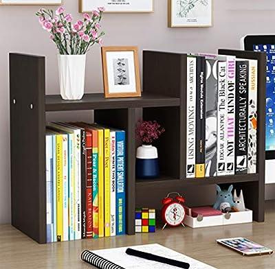 Office Desktop Bookshelf Adjustable Wood Display Shelf Desktop Organizer Office Storage Rack Countertop Bookcase Office Supplies Desk Organizer Accessories