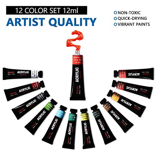 VIKEWE Acrylic Paint Set, 32 Piece Professional Painting Set, Includes 12 Acrylic Paints, 16 Pcs Paint Brushes with Case,Paint Knife and Art Sponge for Watercolor, Oil, Artists, Students and Kids