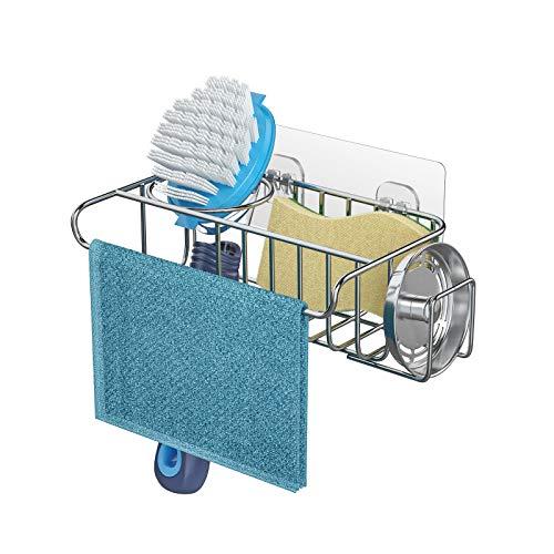 HapiRm スポンジ置き 4in1 スポンジラック ブラシ タオル 排水口ふた 洗剤置き キッチン収納 304ステンレス製 引き掛かせるスポンジホルダー 強力粘着固定 取り付けの2WAYタイプ 17.5*11*6.5cm シルバー