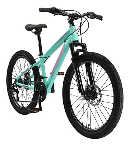 BIKESTAR Kinder Fahrrad Mountainbike 21 Gang Shimano, Scheibenbremse ab 8 Jahre | 24 Zoll Kinderrad MTB | Mint