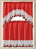 Addy 3D Apple Embroidered Kitchen Curtain Tiers & Swag Set Red-White, 60x36 & 30x36