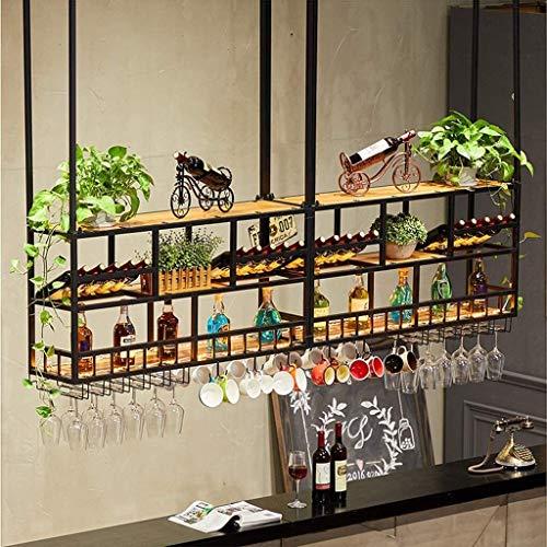 LYATW De metal estante del vino montado en la pared con soporte de vidrio, Industrial Negro del estante del vino decoración de la pared, estantes de la pared estantes flotantes de almacenamiento, colg