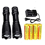Best 18650 Flashlight 2000 LM(2 Packs) with 4PCS 3.7V Rechargeable Battery and Charger,XML-T6