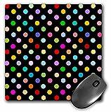 rainbow polka dot pattern mousepad - black