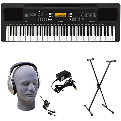 Yamaha PSR-EW300 PKS Premium Keyboard Pack with Power Supply, X-Style Stand, and Headphones