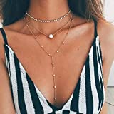 Adflyco Boho Layered Rhinestone Choker Necklace Chain Gold Pearl and Bead Pendant Necklaces Jewelry for Women and Girls