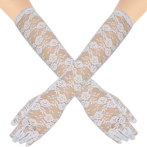 Skeleteen Elegant Lace Elbow Gloves - 1920s Fashion Opera Length Tea Party White Wedding Gloves
