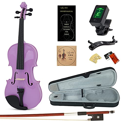 Amdini Solid Spruce 1/2 Violin Set Varnish Fiddle AC100 Half Size for Adults Beginners Students with Case, Tuner, Manual, Bow, Shoulder Rest, Extra Strings (Purple)