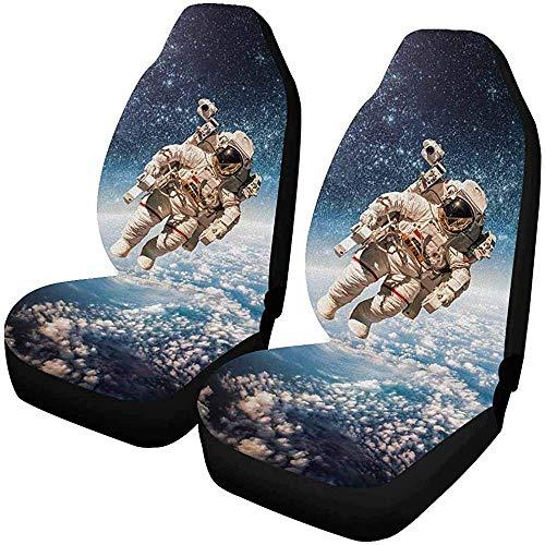 2 stuks aangepaste fantastische Galaxie-ster-autostoelhoezen voor voorkant, autostoelbeschermer, geschikt voor de meeste auto's, vrachtwagens, SUV's, auto's en dergelijke.
