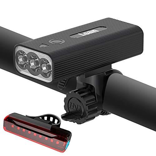 Lsan Luz Bicicleta Recargable USB,800 Lúmenes 3 LED Luz Bicicleta Potente Delantera y Trasera,IPX5 Impermeable,3 Modos Ajustables,para Ciclismo Carretera y Montaña para la Noche