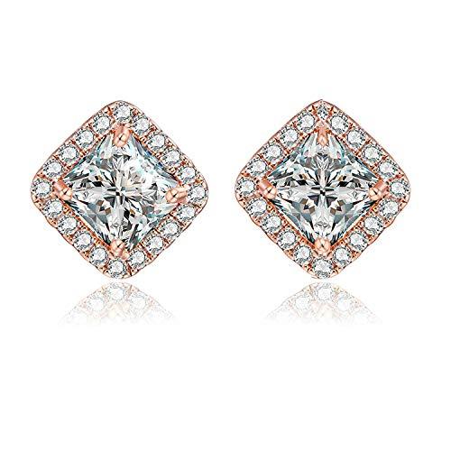 AnazoZ 1 Par Pendientes Cuadrado Pendientes Plata de Ley 925 Pendientes Circonita Cristal Pendientes Oro Rosa Mujer