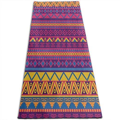NA Heldere Mexicaanse Zig Zag Tribal Yoga Mat-All-Purpose Hoge Dichtheid Antislip Oefening Aangepaste Yoga Matten voor alle soorten Yoga, Pilates & Vloer Oefeningen (70