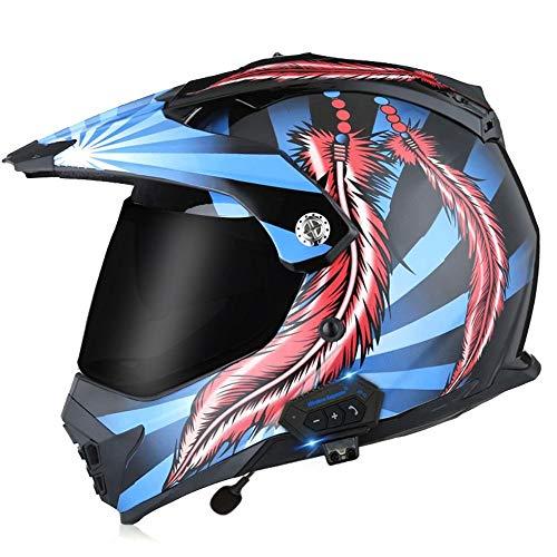 BCCDP Cascos Bluetooth Moto integrales Casco Motocross, con Un MicróFono Incorporado Visera Doble, ECE Homologado Adultos Hombres Mujere para Montar Al Aire Libre Apto