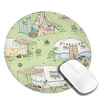 丸型マウスパッド ゲーミングマウスパッド キャンププリント おしゃれ オフィス自宅兼用 滑り止めゴム底 耐洗い表面 厚地 精密度アップ 光学式マウス対応 20*20cm 厚さ3mm