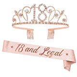'18 and Legal' Sash and Rhinestone Crown Set - 18th Birthday Party Gifts Birthday Sash for Girl Birthday Party Supplies