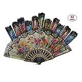 Tomixxx (1 Dozen 12 Pieces Spanish Floral Folding Hand Fans Gift Size 9' Wholesale