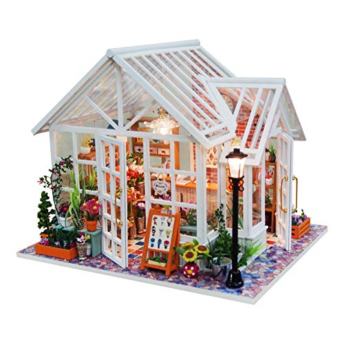 Kit de casa de muñecas de Madera DIY Cabina en Miniatura ensamblada con Muebles Casa de Campo Hecha a Mano con Movimiento Musical Mini Juego de casa de muñecas