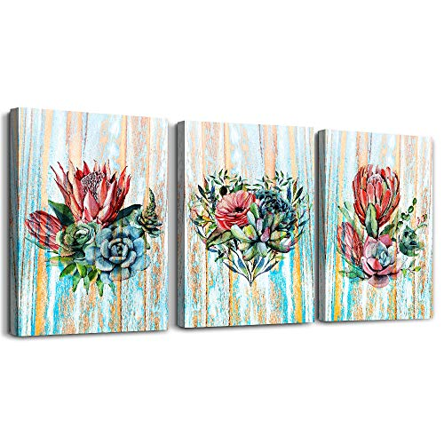 modern Green leaves plants Canvas wall art for bedroom bathroom wall decor Watercolor painting Framed posters Canvas Prints for living room office Home Decoration red flower kitchen wall painting