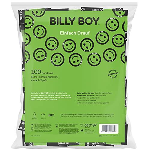 Billy Boy Einfach Drauf Kondome Pack mit Leichtes Abrollen und Komfortable Passform   Transparent   100er Pack