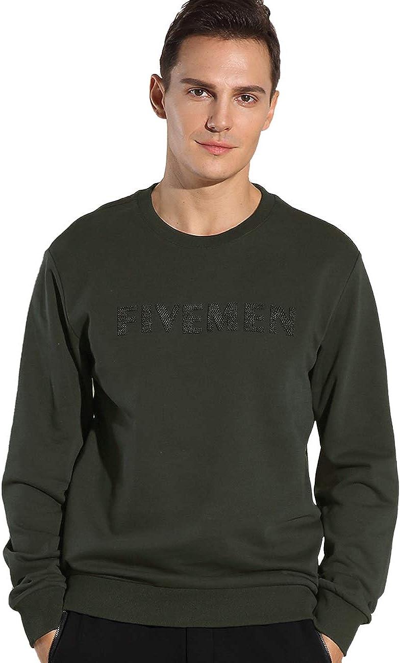 FIVE MEN Men's Crewneck Sweatshirt- Heavyweight Premium Cotton Plain Blank Sweatshirt Don't Shrink or Anti-Pilling