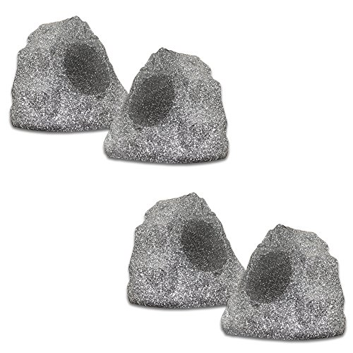 in budget affordable Theater Solutions 4R4G New Wired Garden Waterproof Granite Patio Speaker (Set of 4)