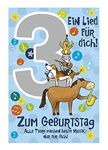 Depesche 5698.005 - Glückwunschkarte mit Musik, 3. Geburtstag, blau