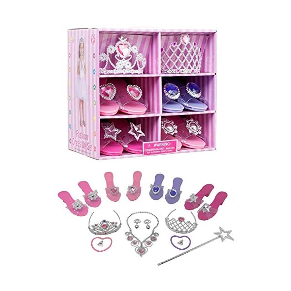 Royal Dreams Princess Shoes & Tiara Dress up Play . Includes 4 Princess Shoes for Girls 2 Tiaras Necklace Bracelets & Earrings! Perfect Little Girl Toys Role Play Playset