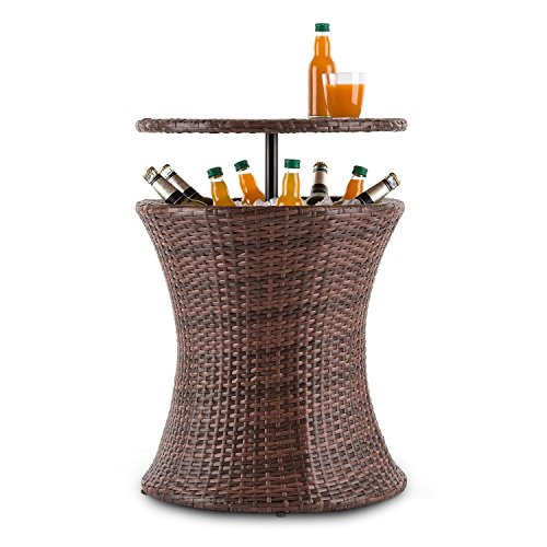 Blumfeldt Beerboy - Garden table, High table, Side table, Beverage cooler, Height-adjustable table top, 50cm diameter, Poly rattan, For garden, balcony or terrace, Weatherproof, Brown