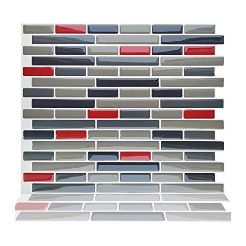 ZXF Pegatinas de baldosas, 10 Tabletas Decoración Cocina baño de Agua del azulejo Auto Adhesivo 3D despegar y Pegar Vinilo Etiqueta de la Pared del Mosaico
