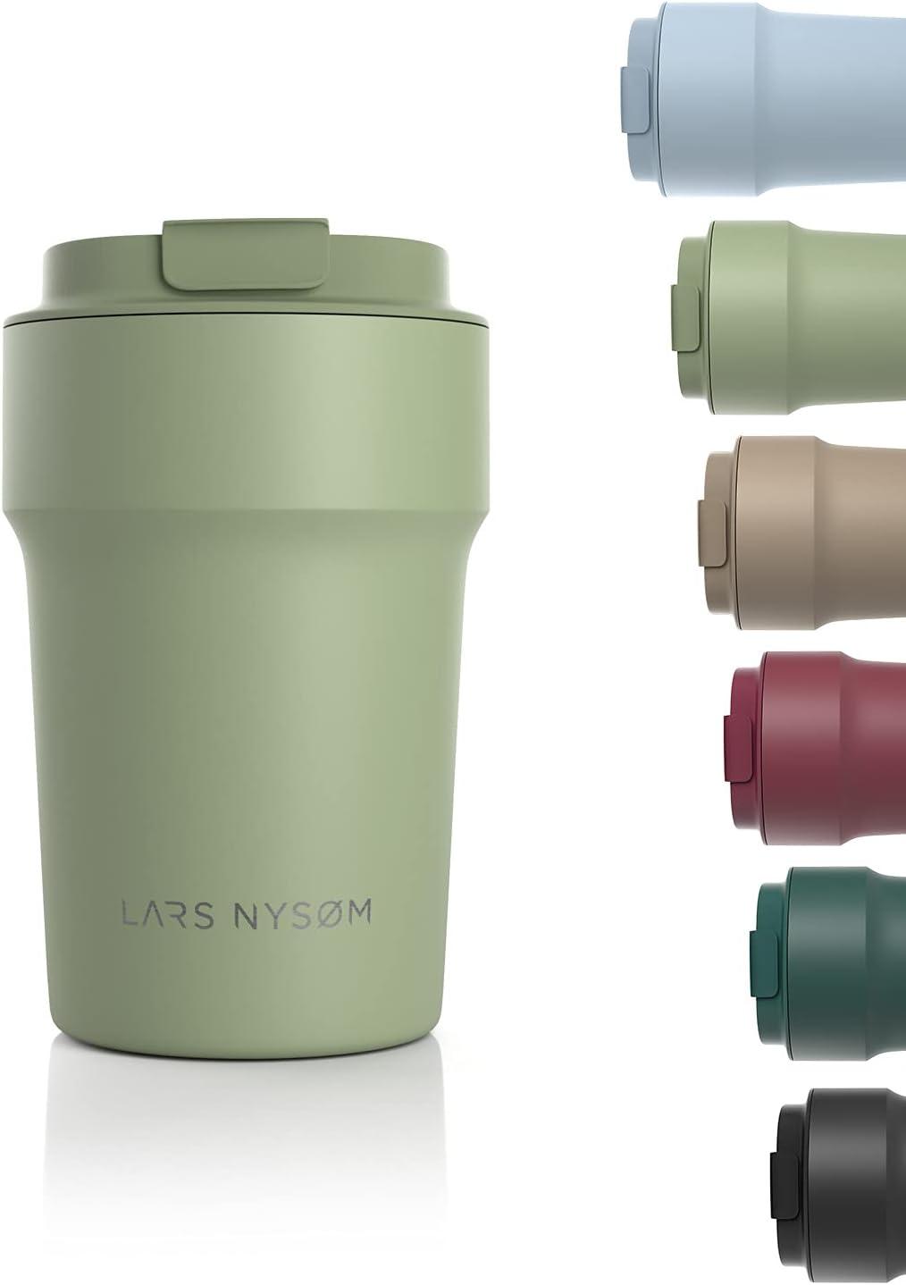 LARS NYSØM Taza térmica café para Llevar 380ml   Termo Café para Llevar sin BPA de 0,38 litros con Aislante   Travel mug de Acero Inoxidable a Prueba de Fugas para el café y el té