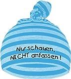 Baby Mütze bedruckt mit NUR SCHAUEN - NICHT ANFASSEN (Farbe hellblau/dunkelblau) (Gr. 0-74)