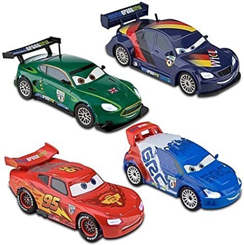 Disney   Pixar CARS 2 Movie Exclusive 148 LightUp Die Cast Car 4Pack Set  1 McQueen, Max Schnell, Raoul aroule and Nigel Gearsley by Disney Store
