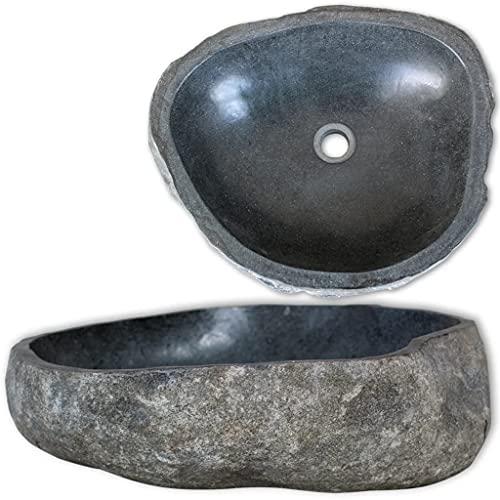 vidaXL Lavandino Ovale in Pietra del Fiume Naturale da Bagno 46-52 cm Lavello Lavabo