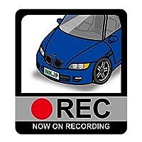 MKJP ドライブレコーダーステッカー BMW Z3 CN CL CH CJ 130mm x 116mm 2枚組 ブルー