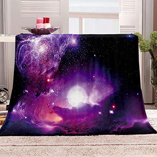 XADHTB Manta De Franela De Microfibra 180X220cm Manta De Felpa Suave Para Sofá Cama 3D Cielo Estrellado Galaxia Púrpura Impresión Patrón Manta Polar Invierno Gruesa Y Esponjosa Caliente Transpirable