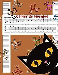 Cahier de Musique: Cahier de partitions - cahier tête de chat pour enfants 13 portées par page - 100 pages - cahier de lecture et d\'écriture des ... / clarinette / accordéon / tambours.