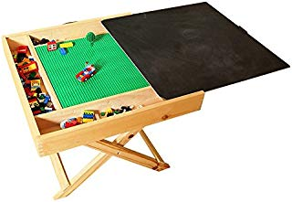 Wooden Lego Compatible Play Table for Lego, Kids 2-in-1 Activity Table with Storage and Chalkboard - Double-Sided Play Board Design with Travel Carry Handle for Kids & Children