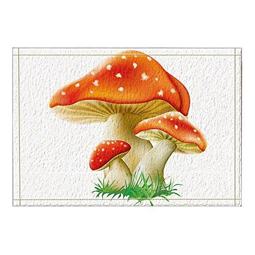 NYMB Cartoon Mushrooms for Kids Bath Rugs, Non-Slip Rectangle Floor Entryways Outdoor Indoor Front Door Mat, Plant Bath Mat, (15.7X23.6in)