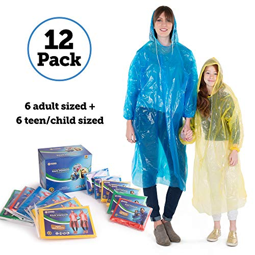 Banana Basics Best Rain Poncho Family Pack Extra Thick Disposable: for Men, Women, Teens & Children (12 Pack) (12)