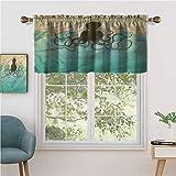 Hiiiman - Juego de cortinas pequeñas para ventanas de cocina, estilo vintage, diseño de olas marinas oceánicas, 91 x 45 cm, para cocina, baño y cafetería