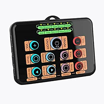 Voice Changer,Hosabely Compact Sound Card for PS4/PC/Xbox/Switch/Phone/Pad,Sound Effects Machine Mixer Board for Skype YouTuber Karaoke Gaming Recording Live Streaming with Microphone/Breathing Lights