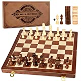AMEROUS 15 Inches Magnetic Wooden Chess & Checkers Set (2 in 1) - Folding Board -Gift Box Packed -24 Cherkers Pieces -2 Extra Queens - Chessmen Storage Slots, Beginner Chess Set for Kids and Adults