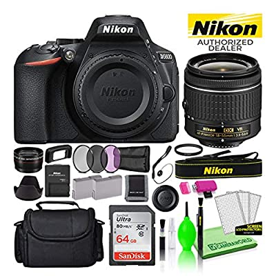 Nikon D5600 24.2MP DSLR Digital Camera with AF-P DX 18-55mm Lens (1576) USA Model Deluxe Bundle -Includes- Sandisk 64GB SD Card + Large Camera Bag + Filter Kit + Spare Battery + Telephoto Lens + More from Nikon