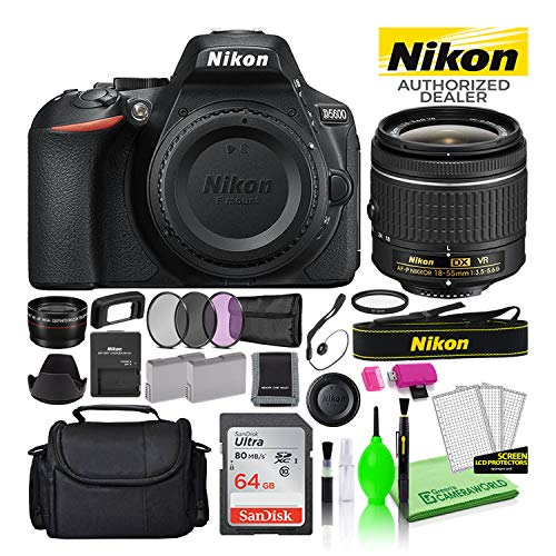 Nikon D5600 24.2MP DSLR Digital Camera with AF-P DX 18-55mm Lens (1576) USA Model Deluxe Bundle -Includes- Sandisk 64GB SD Card + Large Camera Bag + Filter Kit + Spare Battery + Telephoto Lens + More